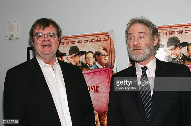 Radio host and actor Garrison Keillor and actor Kevin Kline attend the premiere of 'A Prairie Home Companion' at DGA Theater June 4 2006 in New York...