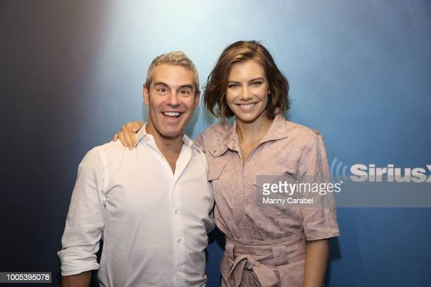 Radio host Andy Cohen with actress Lauren Cohan during a visit to the SiriusXM Studios on July 25 2018 in New York City