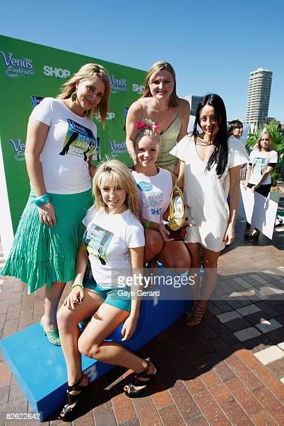 Radio Host Bianca Dye Writer Samantha Brett Athelete Melinda Gainsford Taylor Designer Terry Biviano pose with are winner Brittney McGlone after the...