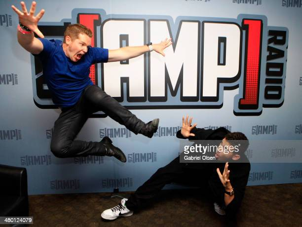 Radio host Casey McCabe and DJ Nick van de Wall aka Afrojack attend 971 AMP RADIO's Amplify 2014 concert at the Hollywood Palladium on March 22 2014...