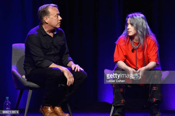 Radio Host Chris Douridas and Singer/Songwriter Billie Eilish speak onstage at the 'Billie Eilish and Finneas O'Connell in Conversation' panel at The...