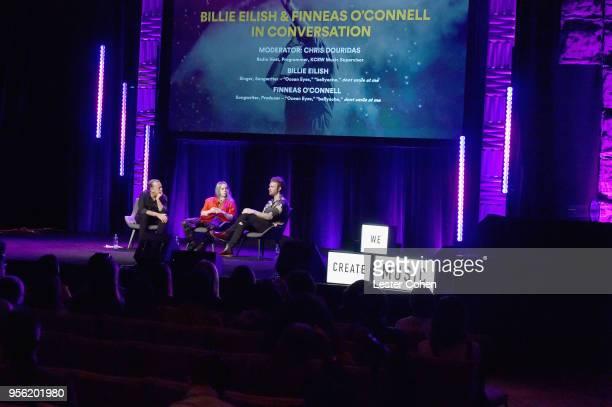 Radio Host Chris Douridas Singer/Songwriter Billie Eilish and Producer Finneas O'Connell speak onstage at the 'Billie Eilish and Finneas O'Connell in...