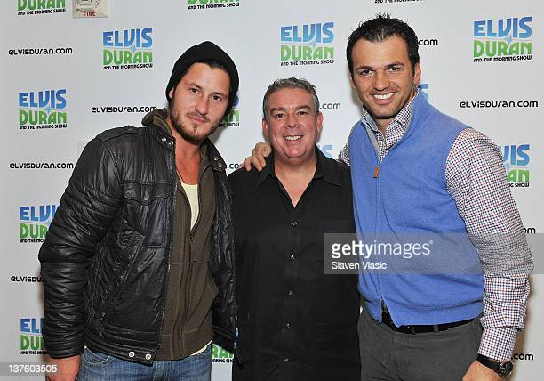 Radio host Elvis Duran and Dancing With The Stars cast members Val Chmerkovskiy and Tony Dovolani attend the The Elvis Duran Z100 Morning Show at...