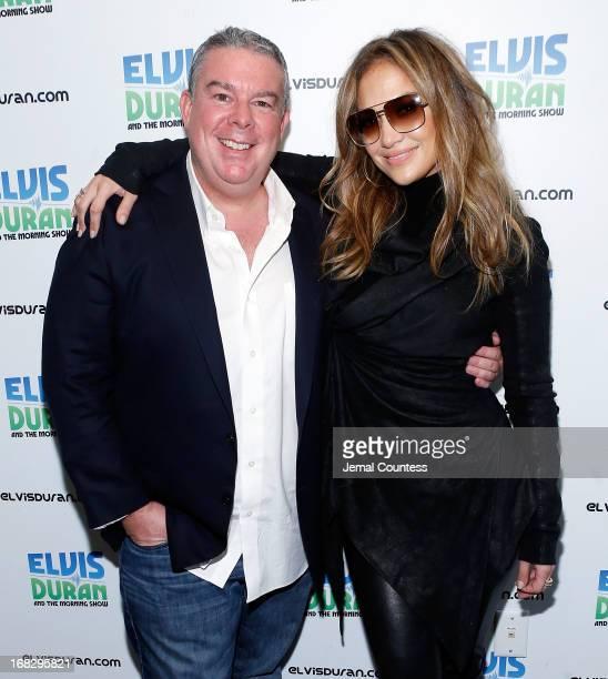 Z100 Radio host Elvis Duran and singer Jennifer Lopez at Z100 Studio on May 8 2013 in New York City