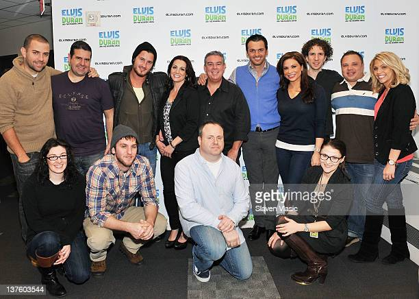 Radio host Elvis Duran 'Dancing With The Stars' cast members Val Chmerkovskiy and Tony Dovolani and the 'The Elvis Duran Z100 Morning Show' crew pose...