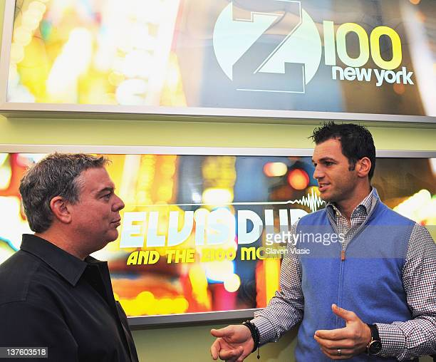 Radio host Elvis Duran talks to Dancing With The Stars cast member Tony Dovolani at The Elvis Duran Z100 Morning Show at Z100 Studio on January 23...
