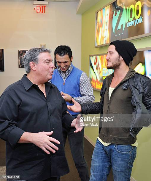 Radio host Elvis Duran talks to Dancing With The Stars cast members Tony Dovolani and Val Chmerkovskiy at The Elvis Duran Z100 Morning Show at Z100...