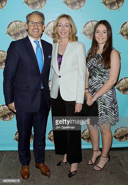 Radio host Eric Metaxas and family attend the Amazing Grace broadway opening night at Nederlander Theatre on July 16 2015 in New York City