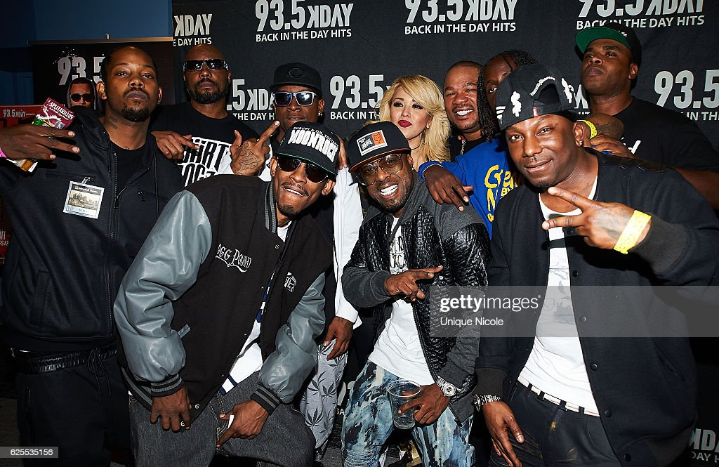 Radio host from 93.5 radio pose with hip hop talent, Kurupt, Daz Dillinger, Xzibit at the 93.5 KDAY's Hip Hop Harvest at Microsoft Theater on November 23, 2016 in Los Angeles, California.