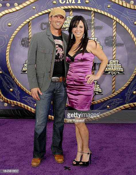 Radio host Jay Baker and fiance singer Sara Evans attend the 2008 CMT Music Awards at the Curb Events Center at Belmont University on April 14 2008...