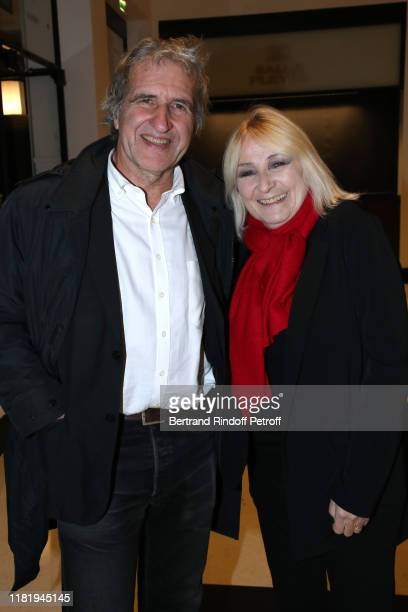 Radio Host Julie Leclerc and her husband Gerard Leclerc attend Hugues Aufray performed at Salle Pleyel on October 18 2019 in Paris France