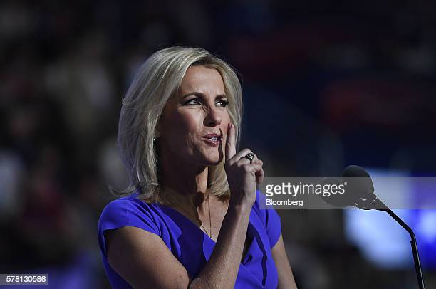 Radio Host Laura Ingraham gestures during the Republican National Convention in Cleveland Ohio US on Wednesday July 20 2016 Donald Trump a realestate...