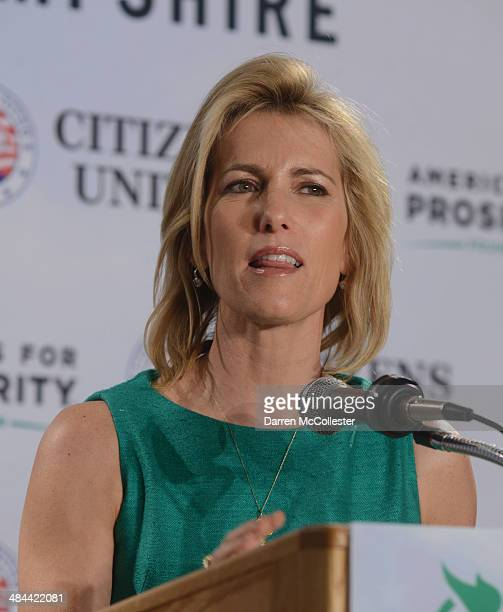 Radio host Laura Ingraham speaks at the Freedom Summit at The Executive Court Banquet Facility April 12, 2014 in Manchester, New Hampshire. The...