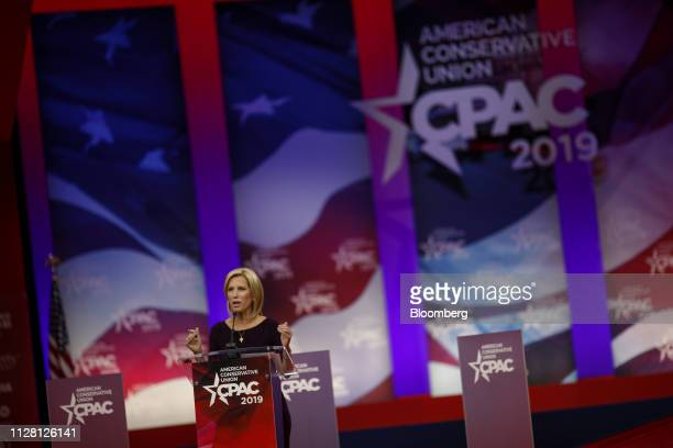 Radio Host Laura Ingraham speaks during the Conservative Political Action Conference in National Harbor Maryland US on Thursday Feb 28 2019 President...