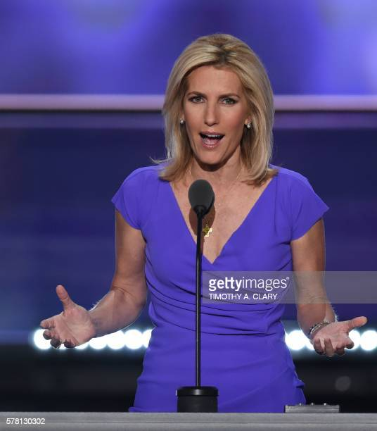 Radio Host Laura Ingraham speaks on the third day of the Republican National Convention in Cleveland Ohio on July 20 2016 / AFP / Timothy A CLARY