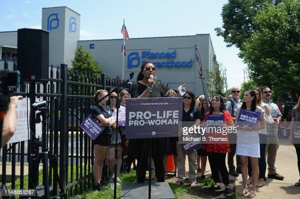 Radio host Stacy Washington speaks during a prooife rally outside the Planned Parenthood Reproductive Health Center on June 4 2019 in St Louis...
