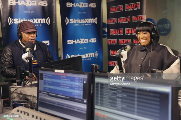 Radio host Sway and singer/songewriter Patti LaBelle at SiriusXM Studios on March 20 2018 in New York City