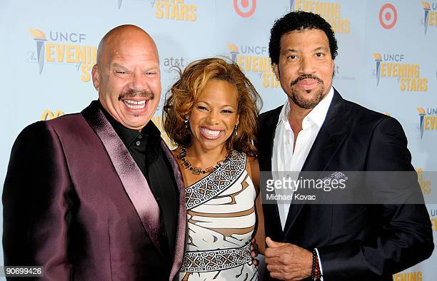 Radio Host Tom Joyner his wife Donna RichardsonJoyner and singer Lionel Richie attend UNCF hosts An Evening of Stars A Tribute To Lionel Richie at...