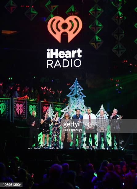 Radio hosts Greg T the Frat Boy Danielle Monaro Samantha Rosalie Medha Gandh Skeery Jones Garrett Vogel David Brody and Elvis Duran speak onstage at...