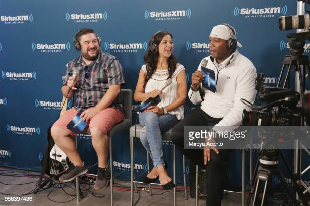 Radio hosts of The Morning Mashup Ryan Sampson Nicole Ryan and Stanly T at SiriusXM Studios on June 28 2018 in New York City