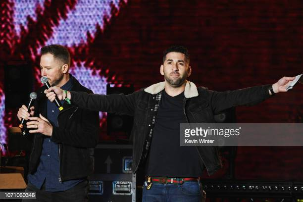 Radio Hosts Ted Stryker and Kevin Klein speak on stage during KROQ Absolut Almost Acoustic Christmas at The Forum on December 9 2018 in Inglewood...