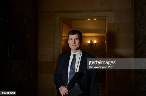 Radio journalist Jamie Dupree poses for a quick portrait photograph while covering politics inside the US Capitol building on Capitol Hill in...