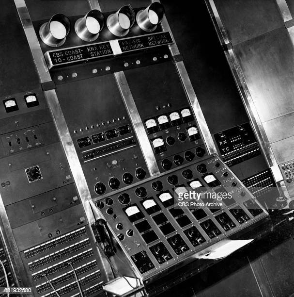 Radio Master Control room and panel located in Columbia Square at 6121 Sunset Boulevard in Hollywood California January 1 1939