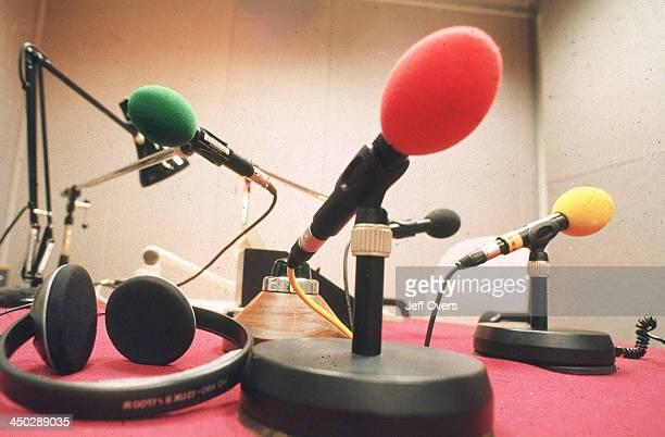 BBC Radio Microphones in studio at Broadcasting House
