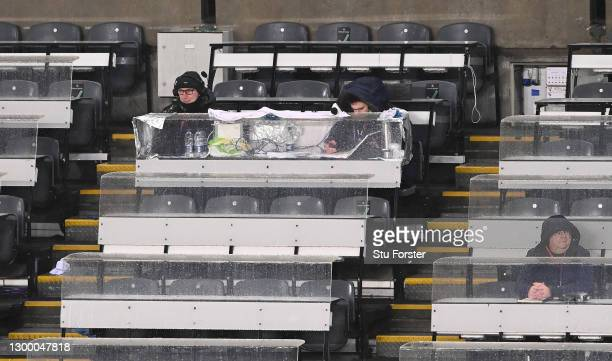 Radio Newcastle pundit John Anderson in the media's socially distanced press box during the Premier League match between Newcastle United and Crystal...