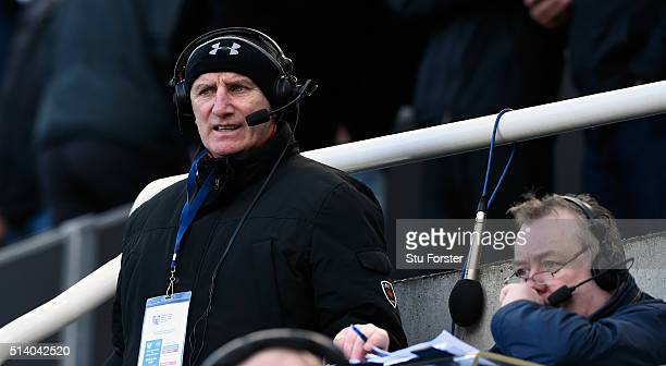 Radio Newcastle team John Anderson and Mick Lowes look on during the Barclays Premier League match between Newcastle United at AFC Bournemouth at St...