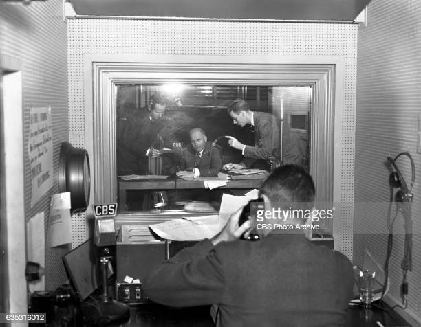 Radio news commentator and analyst HV Kaltenborn gathers information and delivers reports of the developing European War crisis New York NY Image...