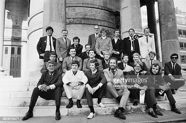 Radio One DJ's pose for a group photograph outside Broadcasting House after the BBC announce their new line up London 1967 Back row Tony Blackburn...