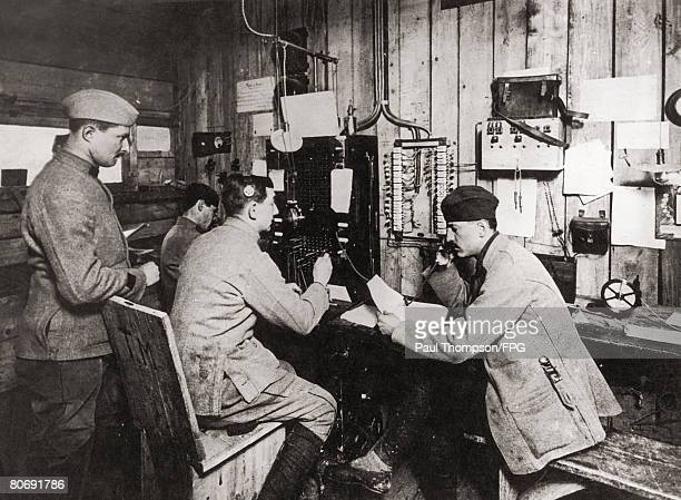 Radio operators at work during World War I circa 1917