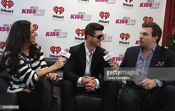 Radio personalities Angi Taylor and Brotha' Fred interview Robin Thicke backstage at 1035 KISS FM's Jingle Ball 2013 presented by Jam Audio...