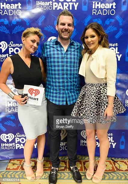 Radio personalities Angi Taylor Brotha Fred and singer/actress Katharine McPhee attend The iHeartRadio Summer Pool Party at Caesars Palace on May 30...