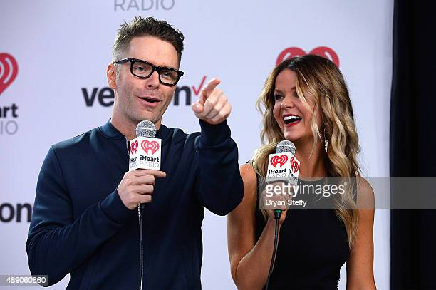 Radio personalities Bobby Bones and Amy attend the 2015 iHeartRadio Music Festival at MGM Grand Garden Arena on September 18 2015 in Las Vegas Nevada