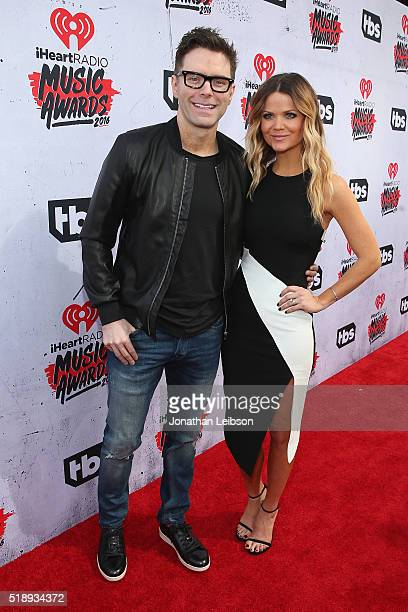 Radio personalities Bobby Bones and Amy Brown attend the iHeartRadio Music Awards at The Forum on April 3 2016 in Inglewood California
