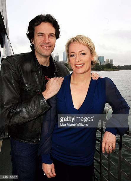 Radio personalities Brendan Jones and Amanda Keller attend the launch of the new Channel Nine TV drama series 'Sea Patrol' on board HMAS Melbourne at...