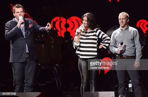 Radio personalities Brotha' Fred Angi Taylor and MJ speak onstage during 1035 KISS FM's Jingle Ball 2013 presented by Jam Audio Collection at United...