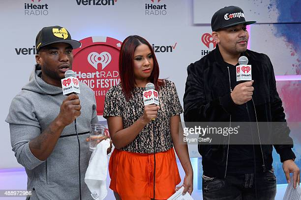 Radio personalities Charlamagne Tha God Angela Yee and DJ Envy attends the 2015 iHeartRadio Music Festival at MGM Grand Garden Arena on September 18...