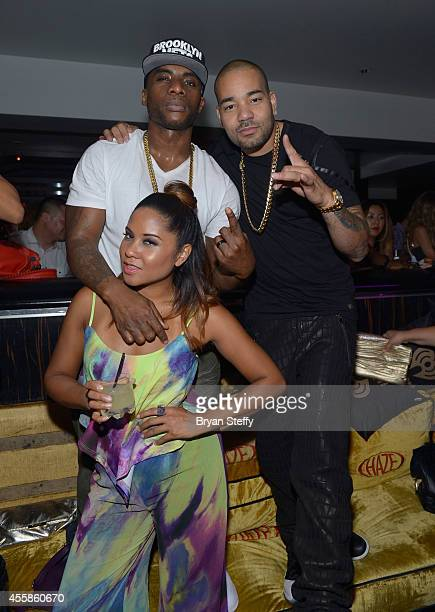 Radio personalities Charlamange Tha God Angela Yee and DJ Envy attend the after party for the 2014 iHeartRadio Music Festival at Haze Nightclub at...