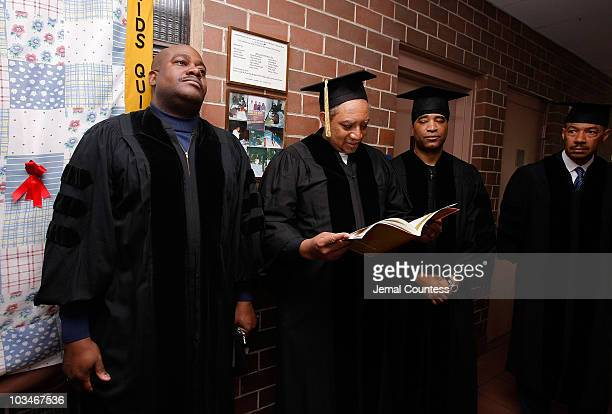 Radio personalities Chuck Chillout Fred DJ Red Alert Krute and Marley Marl attend the 3rd Pi Eta Kappa Honor Society Induction Ceremony at Medgar...