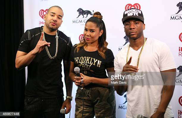 Radio personalities DJ Envy Angela Yee and Charlamagne Tha God of The Breakfast Club attend the 2014 iHeartRadio Music Festival at the MGM Grand...