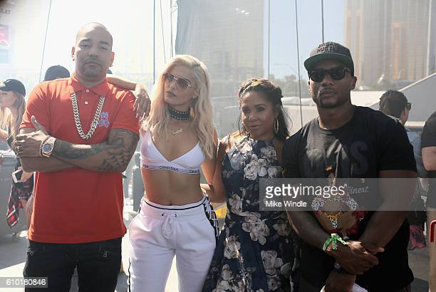Radio personalities DJ Envy Bebe Rexha Angela Yee and Charlamagne Tha God of the Breakfast Club attend the 2016 Daytime Village at the iHeartRadio...