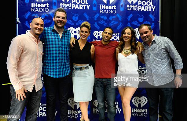 Radio personalities DJ JV Brotha Fred Angi Taylor Ramiro Torres Letty B and Romeo attend The iHeartRadio Summer Pool Party at Caesars Palace on May...