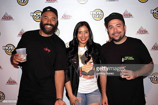 Radio personalities Ebro Laura Stylez and Peter Rosenberg attend 'Up Close And Personal With Rita Ora' at SOB's on September 14 2015 in New York City