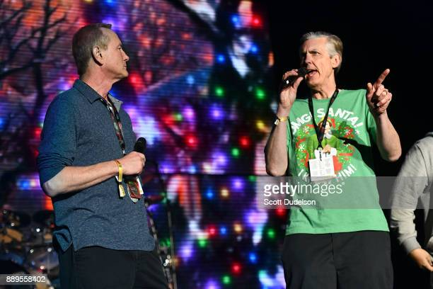 Radio personalities Gene 'Bean' Baxter and Kevin Ryder of the 'Kevin Bean Show' appear onstage during KROQ Almost Acoustic Christmas 2017 at The...
