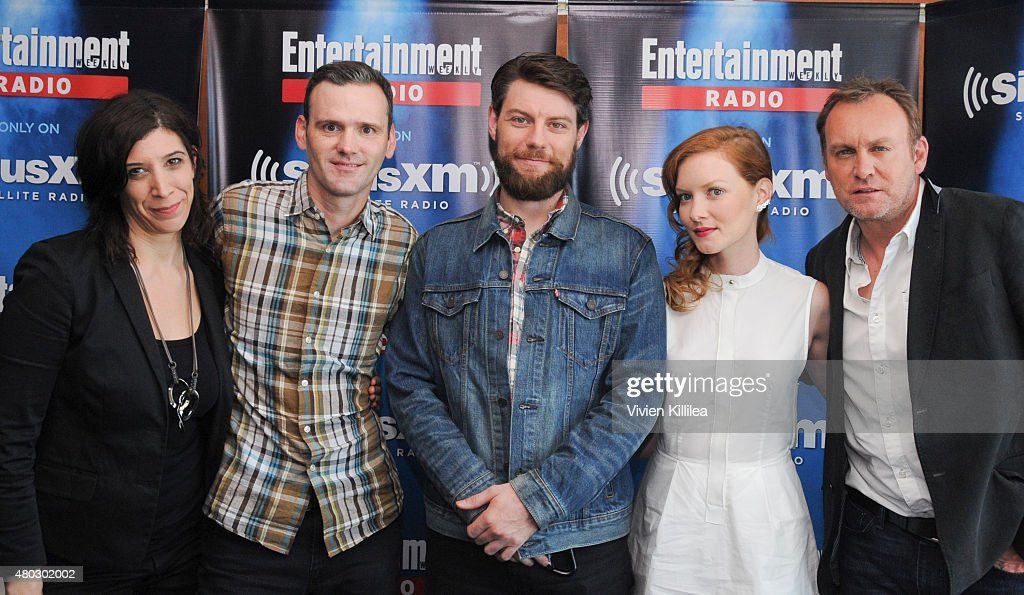 Radio personalities Jessica Shaw and Dalton Ross and actors Patrick Fugit, Wrenn Schmidt and Philip Glenister attend SiriusXM's Entertainment Weekly Radio Channel Broadcasts From Comic-Con 2015 at Hard Rock Hotel San Diego on July 10, 2015 in San Diego, California.