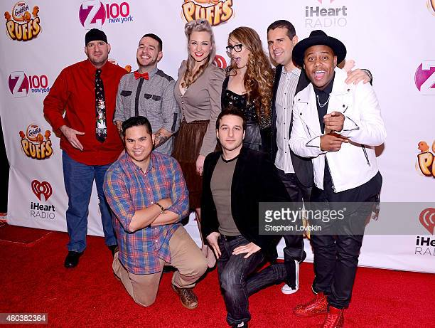 Radio personalities JJ Kincaid Mo' Bounce Bethany Watson Erica America Skeery Jones Maxwell Riddler and Phill Kross attend iHeartRadio Jingle Ball...