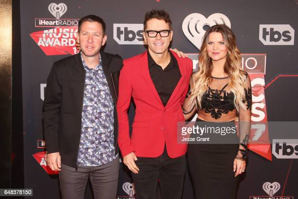 Radio personalities Lunchbox Amy Brown and Bobby Bones attend the 2017 iHeartRadio Music Awards which broadcast live on Turner's TBS TNT and truTV at...